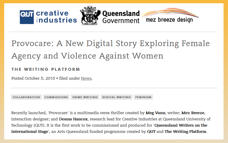 Provocare Digital Fiction Project