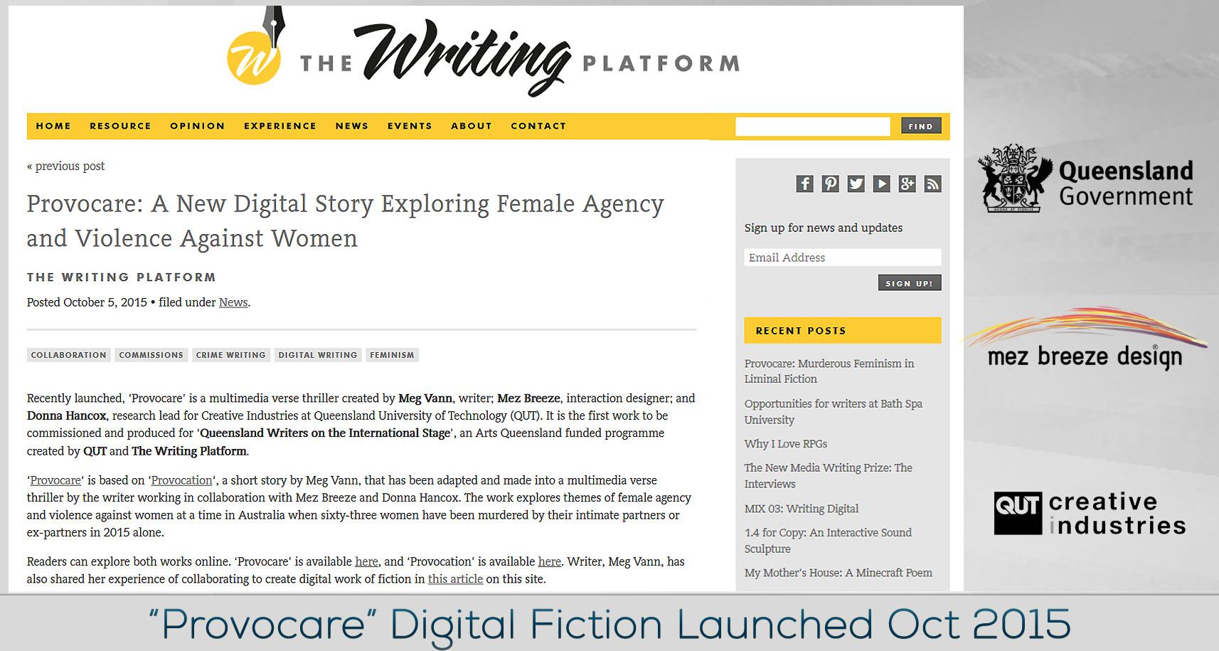Provocare Digital Fiction Project Launched